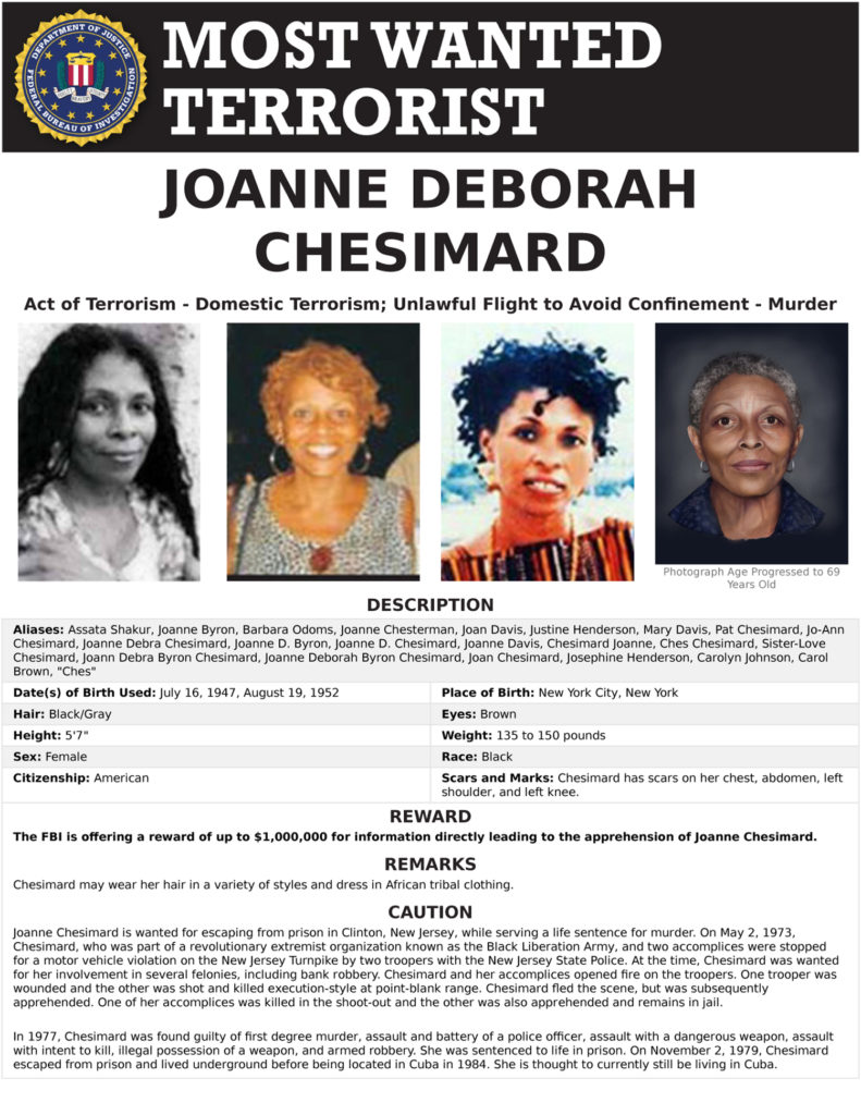FBI WANTED TERRORIST – Joanne Chesimard First Woman Named to