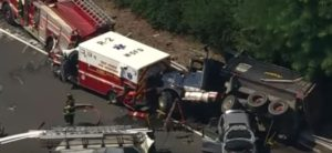DUMP TRUCK Plows into Crash Scene on I-280. Pedestrians, Troopers Injured, Police Cars, Ambulance and Firetruck Crushed