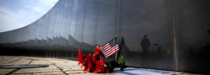 Red White and Blue decorate the New Jersey Vietnam Veterans Memorial